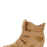 Wild Diva Lounge Bubble 04A Taupe Velcro Wedge Sneakers