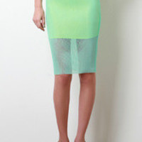Color Mesh Midi Skirt Color: Mint, Size: S