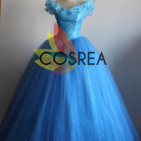Disney New Cinderella 2015 Dress With Dress Hoop And Free Shipping Worldwide