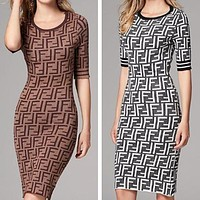 FENDI New Popular Women Sexy Double F Letter Temperamental Knit Round Collar Dress