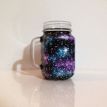 Hand painted galaxy mason jar mug by ArianaVictoriaRose on Etsy