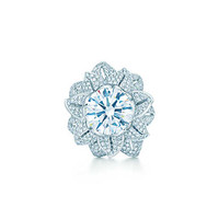 Tiffany & Co. - The Gatsby Collection flower ring in platinum with a 5.25-carat diamond.