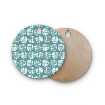 "Gill Eggleston ""Sketched Pods Teal"" Teal White Abstract Modern Vector Digital Round Wooden Cutting Board"
