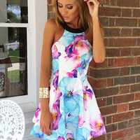 Floral Print with Black Strap Mini Dress