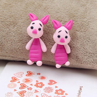 1 pair Trendy stud earring 925 silver pin cute cartoon pink pig handmade polymer clay earrings for women brincos fashion jewelry