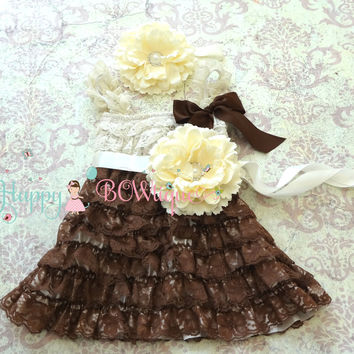 Country Flower girls dress/ Girl's Chocolate Beige Flower Dress set