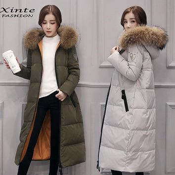 Fast Shipping 2016 Women Winter Jacket Long Down Coat 100% Real Raccoon Fur Trim Hood Outwear Parkas Warm Gift