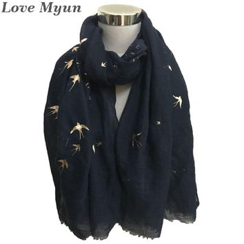 Free DShipping ! Fashion Bird Foil Print Scarf In Navy Colour