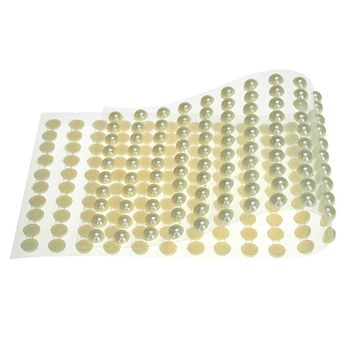 Plastic Pearls Flat Bead Self Adhesive Stickers, 8mm, 22-Strips, Ivory