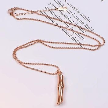 GUCCI Trending Women Men Rose Golden Simple Bamboo Pendant Necklace Simple Collarbone Chain Accessories Jewelry I-HLYS-SP