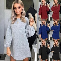 Autumn and winter new knit sweater dress bottoming shirt women's clothing