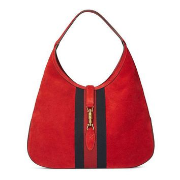 ONETOW Gucci Red Soft Suede Web Stripe Jackie Shoulder Hobo Bag