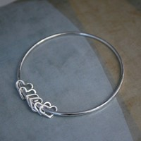 $48.00 Sterling Silver Bangle Heart Charm Bracelet by KiraFerrer on Etsy
