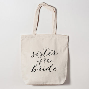 Sister of the Bride Calligraphy Tote Bag
