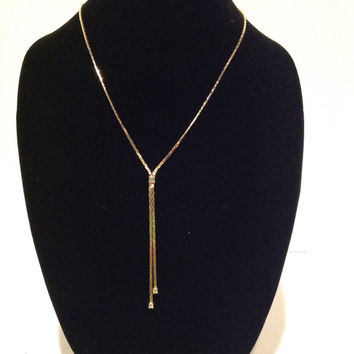 Vintage Christian Dior Gold Plated Necklace with Rhinestone Dangles