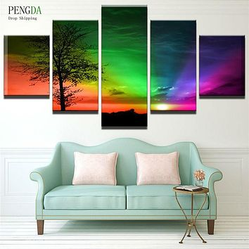 PENGDA Modern Printed Canvas Art 5 Panels Colorful Landscape Home Decoration For Living Room Canvas Art Modular Pictures