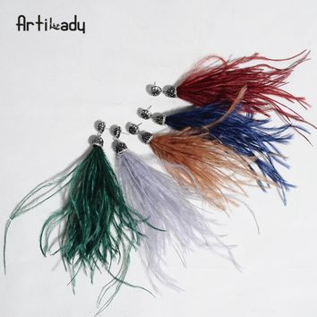 Artilady bohemian dangle earrings indian ostrich feather tassel drop earring