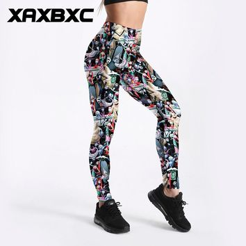 XAXBXC 3513 Sexy Girl Pencil Pant The Nightmare Before Christmas Prints Elastic Slim Fitness Workout Women Leggings Plus Size
