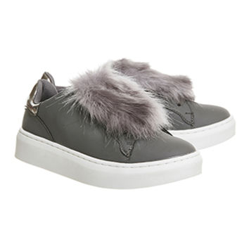 Office Pom Pom Fluff Trainer Grey - Flats