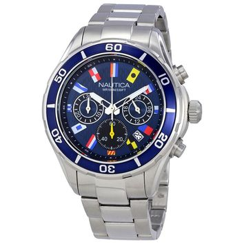 Nautica NST 12 Navy Blue Dial Mens Chronograph Watch NAD19549G