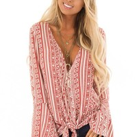 Burnt Orange and Cream Tribal Print Long Bell Sleeve Top