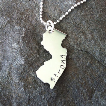 Jersey strong necklace hand stamped new jersey hurricane relief super storm sandy