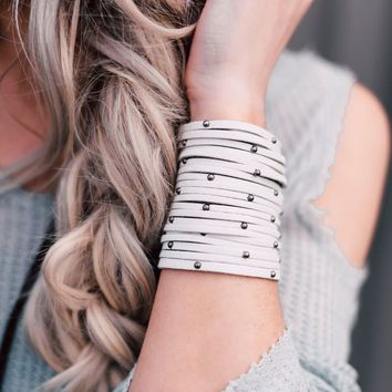Studded + Sliced Wide Leather Cuff - Ivory