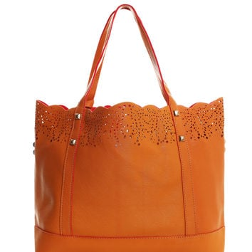 Perforated Details 2-in-1 Studded Tote Bag