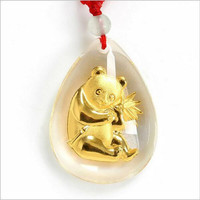 Acrylic Gold-plated Pendant Fashion The Bubble-shaped Necklace Vintage The Panda Pendant For &men Fine jewelry Unisex