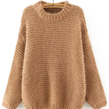 Khaki Chunky Loose Sweater