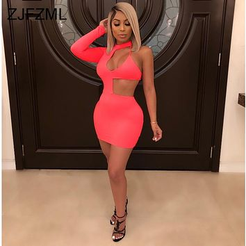 Neon Yellow Red Sexy Pencil Dresses Women One Shoulder Waist Band Cut Out Bodycon Dress Summer Long Sleeve Open Back Party Dress