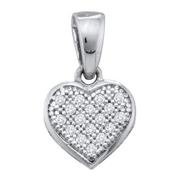 Sterling Silver Women's Round Diamond Small Heart Cluster Pendant 1-20 Cttw - FREE Shipping (US/CAN)