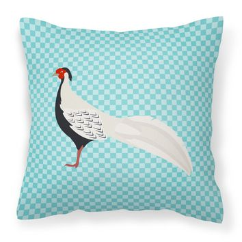 Silver Pheasant Blue Check Fabric Decorative Pillow BB8103PW1414