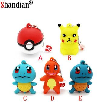 SHANDIAN  Pikachu pendrive 4gb 8gb 16gb 32gb keychain cartoon squirtle charizard usb flash drive pendriver memory cardKawaii Pokemon go  AT_89_9