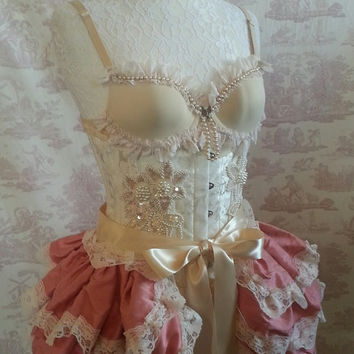 Vintage Pink  Silk Tie On Bustle Skirt  and shrug SET Lolita Victorian   By Ophelias Folly