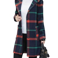 Women Plaid Long Sleeve Single Breasted Hooded Wool Coats