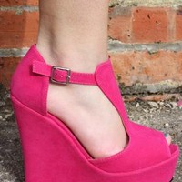 SALE: Hot Pink T-Bar Platform Suede Wedges Shoes  from Boutique 73