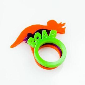 Triceratops and ROAR Stacking Acrylic Rings, Dinosaur Ring, standing Dinosaur in Perspex. Plexiglass jewellery.