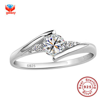 Send Silver Certificate Real 100% 925 Silver Ring 0.5 Carat CZ Diamond Wedding Rings For Women RING SIZE 4 5 6 7 8 9 10 YH500036