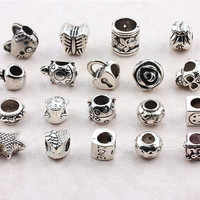Loose Gemstone Beads Silver Spacer Beads Pandora Style Charms Skull Beads 925 Sterling Silver Openwork Heart Bead Jewelry Bracelets