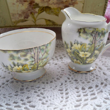 Cream and Sugar Set - Salisbury of England - Primrose Glen
