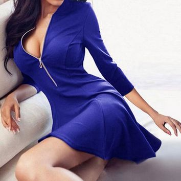 Women 2018 New Spring Sexy V-Neck zippers A-Line dress fashion 3/4 Sleeve Solid Red Blue Party Slim Min dress vestidos Plus size