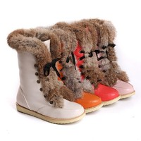 BOOTS - Vintage Feather Fur Leather Half Boots Up to Size 12