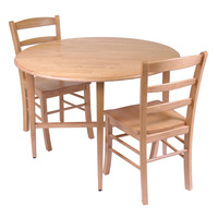 Hannah 3pc Dining Set, Drop Leaf Table with 2 Ladder Back Chairs