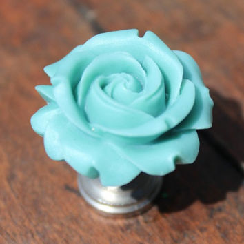 Petite Rose Drawer knobs in Hazy Blue MORE COLORS Available (RFK07)