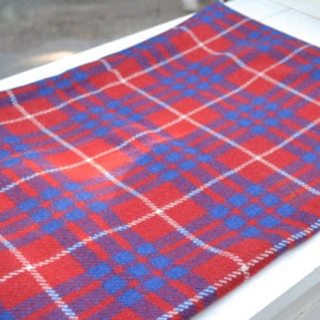Vintage Fabric, Red and Blue Plaid Wood, Fabric Remnant, 1960s Fabric, Red Plaid Material, Blue Plaid Fabric, Remnant, Fabric, Wool Fabric