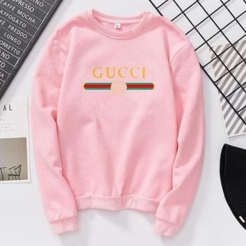 Gucci Women/Men Fashion Long Sleeve Pink Pullover Sweater Sweatshirt Pink