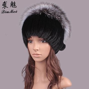 QiuMei Women Winter Hat Tailor 2017 New Real Fur Pom Fluffy Ball Hat Cap Fox Ball Mink Fur Fashion Russian Cap Hat For Women