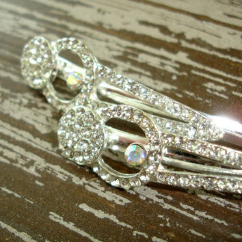 2 Vintage Hair Clips, Silver Tone Rhinestone Clasp or Hair-Slide, Bridal Wedding Barrettes, Aurora Borealis AB Crystal, Prom Hair Accessory