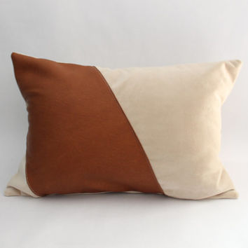 Leather and Suede Pillow Cover: Asymetrical Faux Leather and Suede Throw Pillow, Modern, Eco-Friendly--12 x 18 inch Lumbar--LIMITED QUANTITY